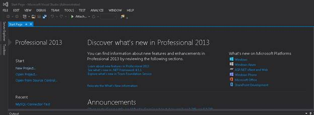 Open a new project in visual studio