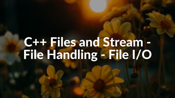 C++ Files and Stream - File Handling - File I/O