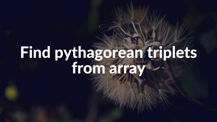 Find pythagorean triplets from array