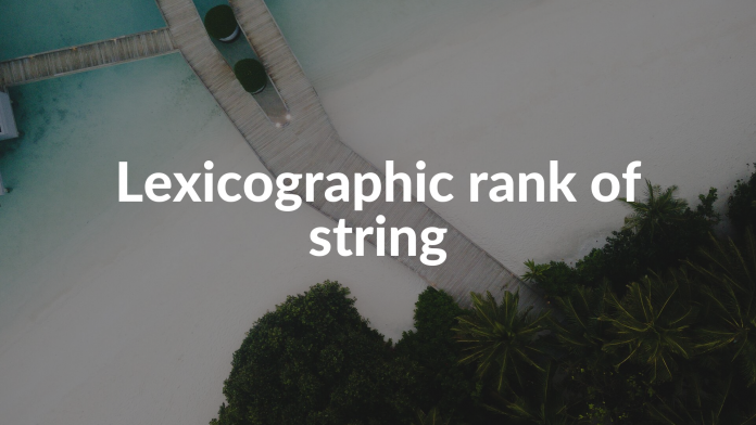 Lexicographic rank of string