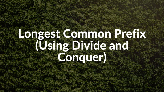 Longest Common Prefix (Using Divide and Conquer)