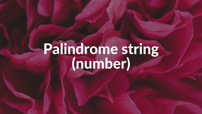 Palindrome string (number)