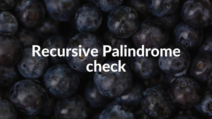 Recursive Palindrome check