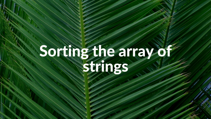 Sorting the array of strings