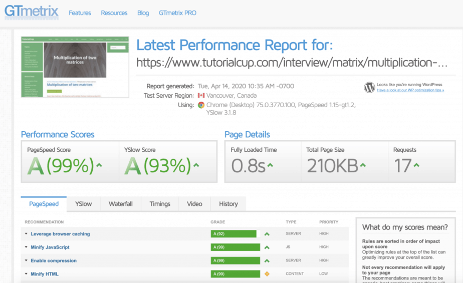 Make Your WordPress Site Load in Less than 1 Second on GTmetrix