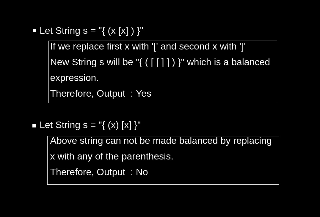 Balanced Expression with Replacement