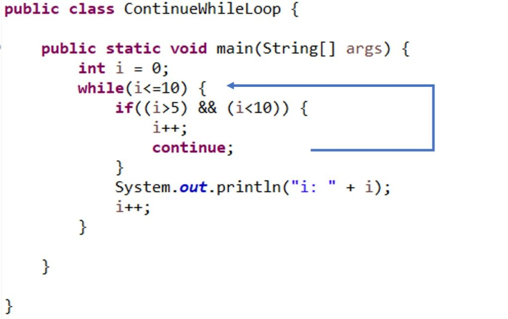 continue in while loop