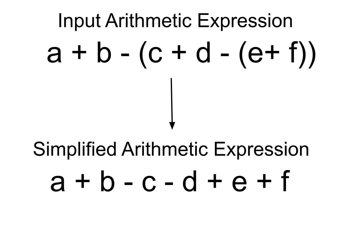 + અને - torsપરેટર્સવાળા બીજગણિત શબ્દમાળામાંથી કૌંસને દૂર કરો