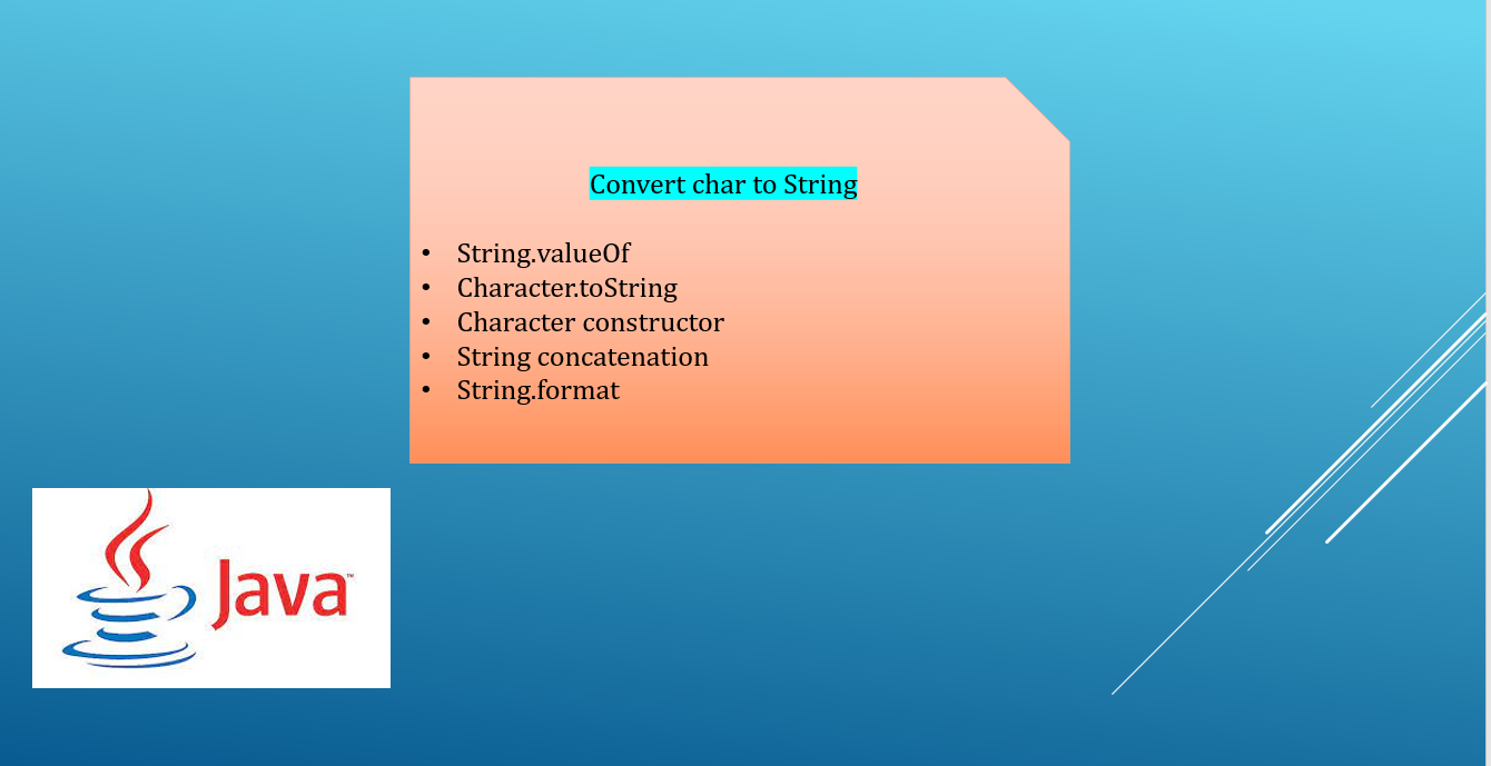 How to convert char to String in Java